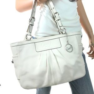 COACH Chalk White Pleated Leather Gallery #13759
